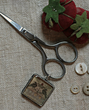 School Girl Scissors & Fob -  Strawberry Hill Sampler (silver)