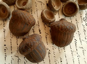 Blackened Wax Acorns - Set of 3