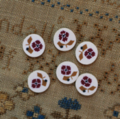 Red Sampler Flower Button