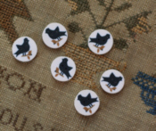 Black Sampler Bird Button