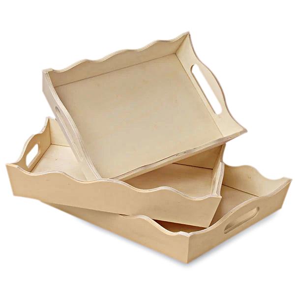 Rectangular Scalloped Tray Set