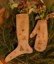 Homespun Stocking & Mitten Ornament