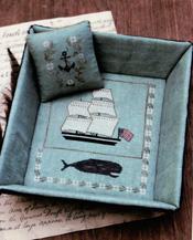 Whaling Ship Sewing Tray & Pinkeep